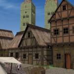 Häuserzeile am Marktplatz mit dem Dom im Hintergrund